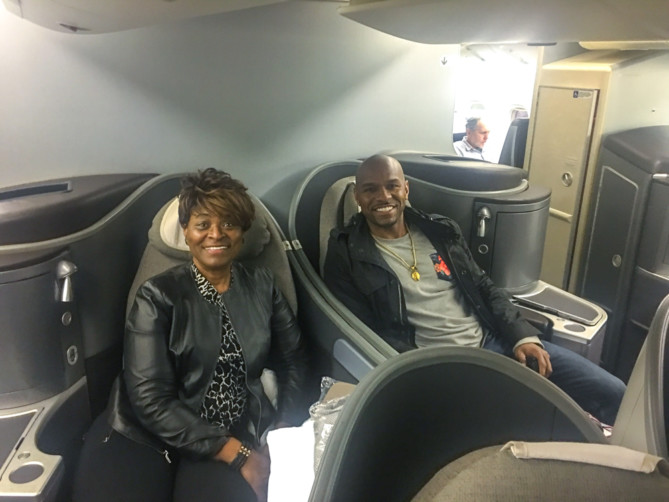 Flying first class with mom!