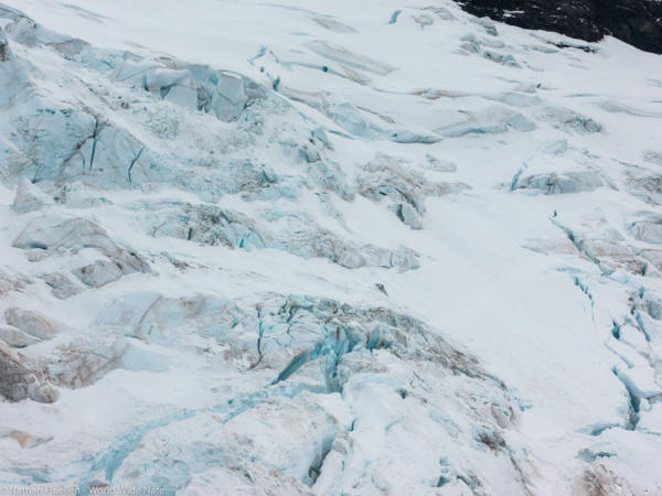Flying close to a glacier
